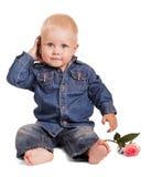 逗人喜爱的小男孩开会拿着手机,被隔绝的玫瑰 库存照片
