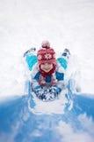 逗人喜爱的小男孩,沿着走一张多雪的幻灯片 免版税图库摄影
