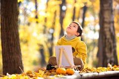 逗人喜爱的小男孩绘画在金黄秋天公园 库存图片