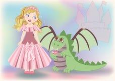 逗人喜爱的小的公主和龙,愉快的圣徒格奥尔 免版税库存图片