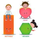 逗人喜爱的小的动画片哄骗与基本的形状心脏六角形rectang 图库摄影