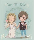 逗人喜爱的小的婚礼夫妇 皇族释放例证