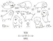 逗人喜爱的小的小狗设置了以各种各样的姿势,跳,睡觉,跑,坐, 图库摄影