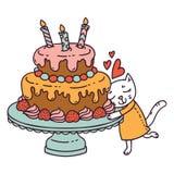 逗人喜爱的小的猫爱她的生日蛋糕 在空白背景的查出的对象 也corel凹道例证向量 库存例证