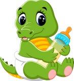 逗人喜爱的小鳄鱼动画片 免版税图库摄影
