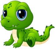 逗人喜爱的小鳄鱼动画片 免版税库存照片