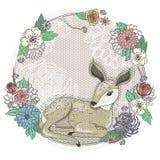 逗人喜爱的小鹿和花框架。 库存图片