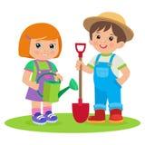 逗人喜爱的工作在庭院传染媒介例证的动画片女孩和男孩 农夫哄骗传染媒介 免版税图库摄影