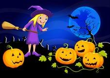 逗人喜爱的巫婆和南瓜在月光 免版税库存图片