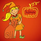 逗人喜爱的巫婆 您的设计的横幅 免版税库存图片