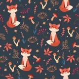 逗人喜爱的平的狐狸无缝的样式 库存例证