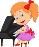 逗人喜爱的弹钢琴的动画片小女孩 图库摄影