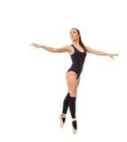 逗人喜爱的当代跳芭蕾舞者,隔绝在白色 库存照片