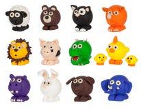 逗人喜爱的彩色塑泥动物收藏 免版税库存图片