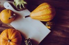 逗人喜爱的微型南瓜和白板顶视图在土气桌上 库存照片