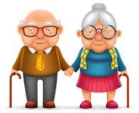 逗人喜爱的微笑愉快的年长夫妇老人爱妇女祖父祖母3d现实动画片家庭字符设计 向量例证