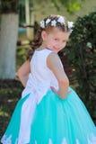 逗人喜爱的微笑的女孩在有人造花,一件欢乐礼服的孩子花圈的蓝色和白色礼服穿戴了在她的头的在n 免版税库存照片