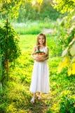 逗人喜爱的微笑的小女孩拿着篮子用水果和蔬菜 免版税库存图片