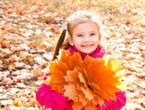 逗人喜爱的微笑的小女孩秋天画象有槭树的离开 库存图片