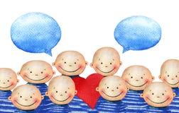 逗人喜爱的微笑的男孩人群拿着心脏的蓝色镶边T恤杉的 库存例证