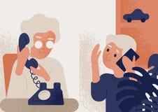 逗人喜爱的微笑的老妇人谈话在电话与小男孩 沟通通过电话的老婆婆和孙子 交谈 向量例证