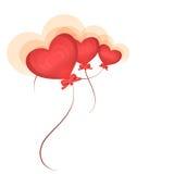逗人喜爱的心脏气球 免版税图库摄影