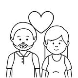 逗人喜爱的恋人夫妇种族 库存例证