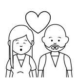 逗人喜爱的恋人夫妇种族 向量例证