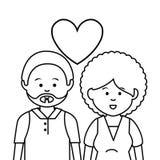 逗人喜爱的恋人夫妇种族 皇族释放例证