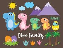逗人喜爱的恐龙家庭 皇族释放例证