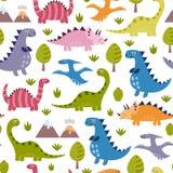 逗人喜爱的恐龙无缝的样式 库存例证