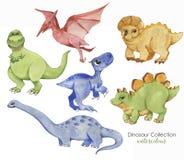 逗人喜爱的恐龙的手拉的水彩例证 历史爬行动物 汇集恐龙-卡通人物 皇族释放例证