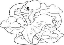 逗人喜爱的恐龙翼手龙,彩图,滑稽的例证 免版税库存图片