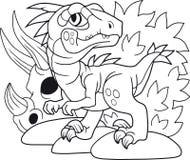 逗人喜爱的恐龙肉食鸟,彩图,滑稽的例证 库存照片