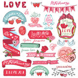 逗人喜爱的您日设计玫瑰华饰集合的华伦泰 标签,象征,框架,心脏 库存照片