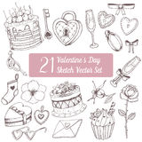 逗人喜爱的您日设计玫瑰华饰集合的华伦泰 蛋糕,杯形蛋糕,上升了,心脏,圆环,心形的箱子,玻璃,爱标志,锁,钥匙 剪影传染媒介手拉的i 图库摄影