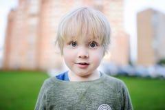 逗人喜爱的惊奇的小男孩画象  免版税库存图片