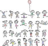 逗人喜爱的愉快的动画片孩子,向量 免版税库存图片