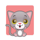 逗人喜爱的愉快的灰色猫 免版税图库摄影