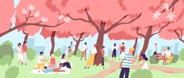 逗人喜爱的愉快的观看樱花的男人和妇女在城市公园 在日语的微笑的人观看的开花的佐仓树 库存例证