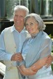 逗人喜爱的愉快的资深夫妇户外 免版税库存照片