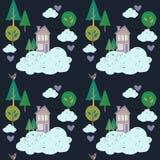 逗人喜爱的房子、云彩和树 传染媒介哄骗样式 免版税库存照片