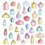 逗人喜爱的手拉的五颜六色的香水瓶 免版税库存照片