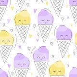 逗人喜爱的手拉的冰淇凌无缝的样式 甜食物传染媒介背景 可口夏天设计 包裹,印刷品 库存例证