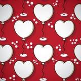 逗人喜爱的手拉的心脏气球 库存图片