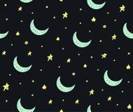 逗人喜爱的手拉的星和月亮无缝的传染媒介样式 向量例证