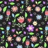 逗人喜爱的手拉的花卉样式 库存图片