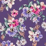 逗人喜爱的手拉的花印刷品-无缝的背景 库存照片