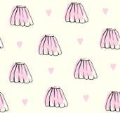 逗人喜爱的手拉的裙子样式柔和的淡色彩背景 向量例证