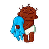 逗人喜爱的新出生的拥抱玩具兔宝宝的婴孩非裔美国人的孩子 免版税库存图片